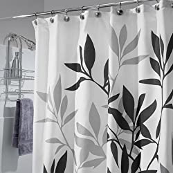 "InterDesign 35620 Leaves Fabric Shower Curtain - Standard, 72"" x 72"", Black"