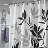 White and Grey Curtains InterDesign Leaves Fabric Shower Curtain, Black/Gray/White