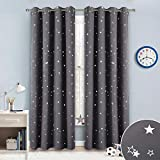 dark grey curtains with stars RYB HOME Star Patterned Insulated Curtains for Child Gift, Blackout Drapes Window Treatment Panels Privacy Curtains for Bedroom/Nursery / Living Room, Grey, 52 inches Wide x 84 inches Long, One Pair