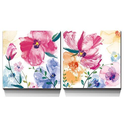3Hdeko - Abstract Pink Flower Watercolor Orchid Painting Purple Floral Wall Art Prints on Canvas for Teen Girls Bedroom Bathroom Kitchen Modern 2 Pieces Home ()
