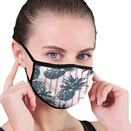 Funny Mouth Cover Dustproof Washable Reusable Watercolor Pineapple Pink Striped Unique Respirator Protective Safety Warm Windproof for Women Men