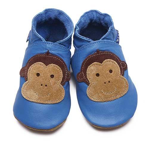 Inch Blue - Patucos de cuero para niño marrón marrón Mid Blue