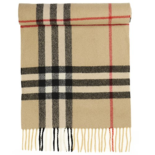 Candor and Class Pure Cashmere Winter Scarf, Solid Colors and Plaids, Mens Womens Unisex, Gift Box (Camel Plaid) (Solid Blend Color Cashmere)