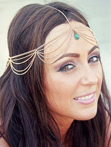 Simsly Gold Head Chain Jewelry with Pendant Hair Headpiece for Women and Girls FV-057