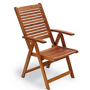 Silla plegable de madera con reposabrazos 109x 60x 65cm, Mod.Maranta, silla Jardín reclinable de 5COMODE posiciones, sillón plegable de madera keruing, silla de madera con reposabrazos uso externo.