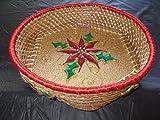 Pine Needle Christmas Poinsettia BASKET