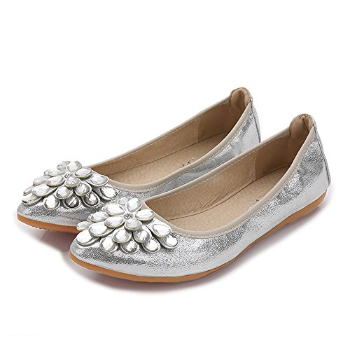 Ballet Women Pointed Flats Foldable 4 Loafer Silver Wedding Shoes Rhinestone Slip On 6pxOwUpqE