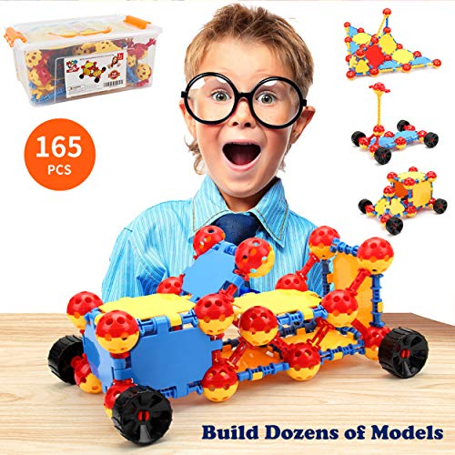 MOBIUS Toys Stem Kit Educational Toy and Kids Engineering Kit, 165 Piece IQ Building Blocks Creative Science, Best Non-Toxic Learning Builder Set for Boys and Girls Ages 5 6 7 8 9 10 11 12 Kids Gift