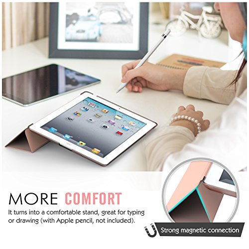 Moko Case for iPad 2/3 / 4 - Ultra Lightweight Slim Smart Shell Stand Cover with Translucent Frosted Back Protector for iPad 2 / The New iPad 3 (3rd Gen) / iPad 4, Rose Gold (with Auto Wake/Sleep) by MoKo (Image #5)