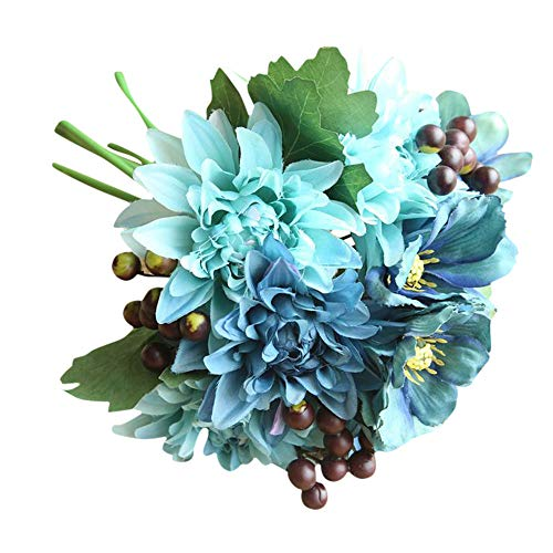 (Naiflowers Artificial Silk Flower Bridal Bouquets, 1 Bouquet Fake Dahlia Floral Arrangements DIY Real Looking Silk Flower with Plastic Stem for Home Wedding Party Decoration (Blue))