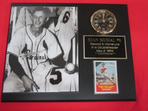 - Stan Musial St Louis Cardinals Collectors Clock Plaque w/8x10 RARE Photo and Card 5 HOMERUNS IN ONE GAME