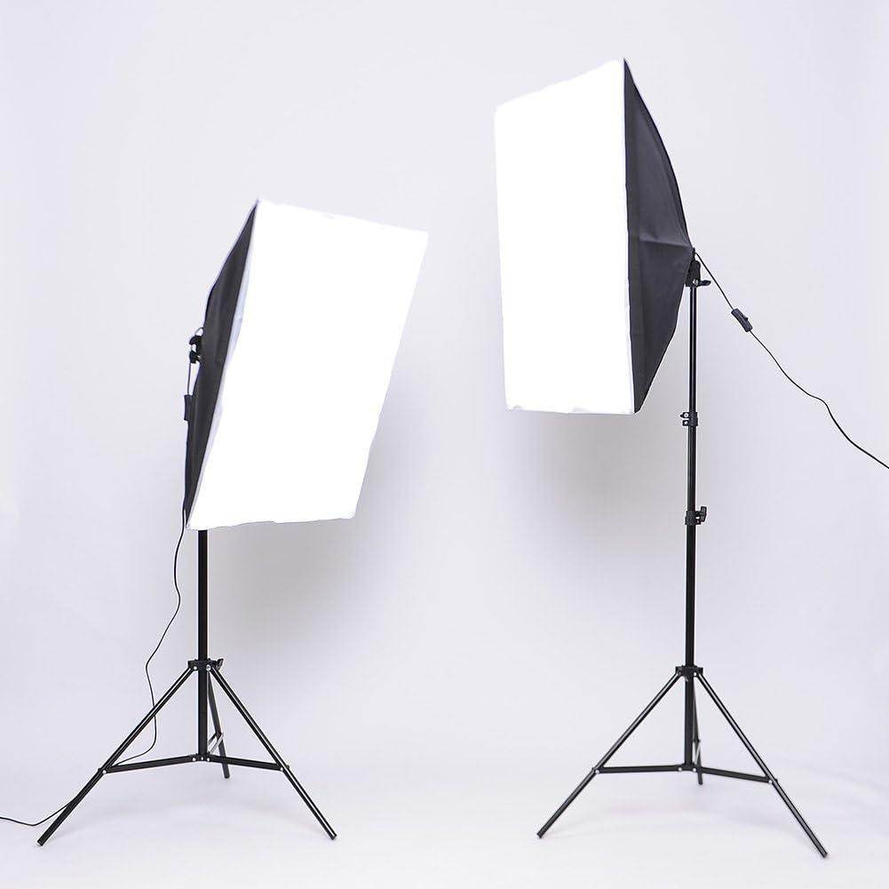 MVPOWER Softbox Kit Iluminacion Fotografía con Luz Continua con 2 Bombilla Lampara 135W + 2 Ventana de Luz 50x70cm + 2X Trípode 68-200 cm, para Estudio Profesional: Amazon.es: Electrónica