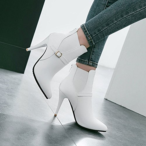 Agodor Womens Stiletto High Heels Pointed Toe Ankle Boots With Zip Elegant Wedding Shoes White gX6yzhu7