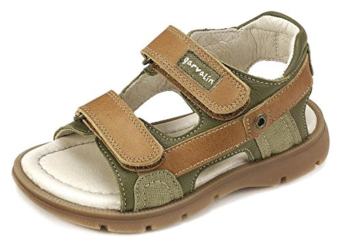 Garvalín Boys' 182463 Open Toe Sandals, Green (Olive/Leather/Sauvage/Kaiser), 9UK Child -  182463-C-AMZ_C-AMZ