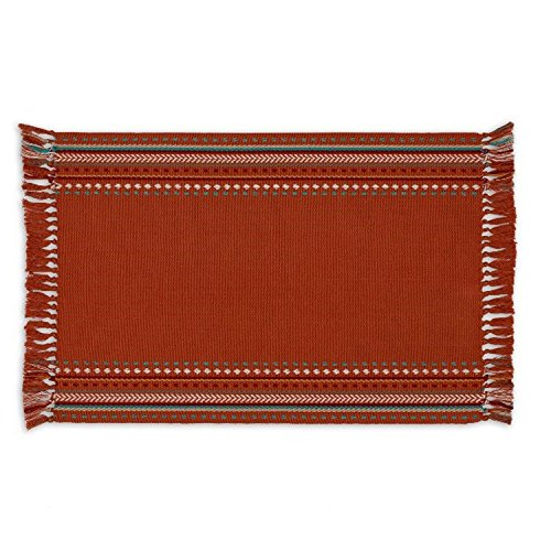 Design Imports Southwest Table Linens, 13-Inch by 19-Inch Placemats, Set of 4, Sedona Sunset Hacienda Stripe Fringed