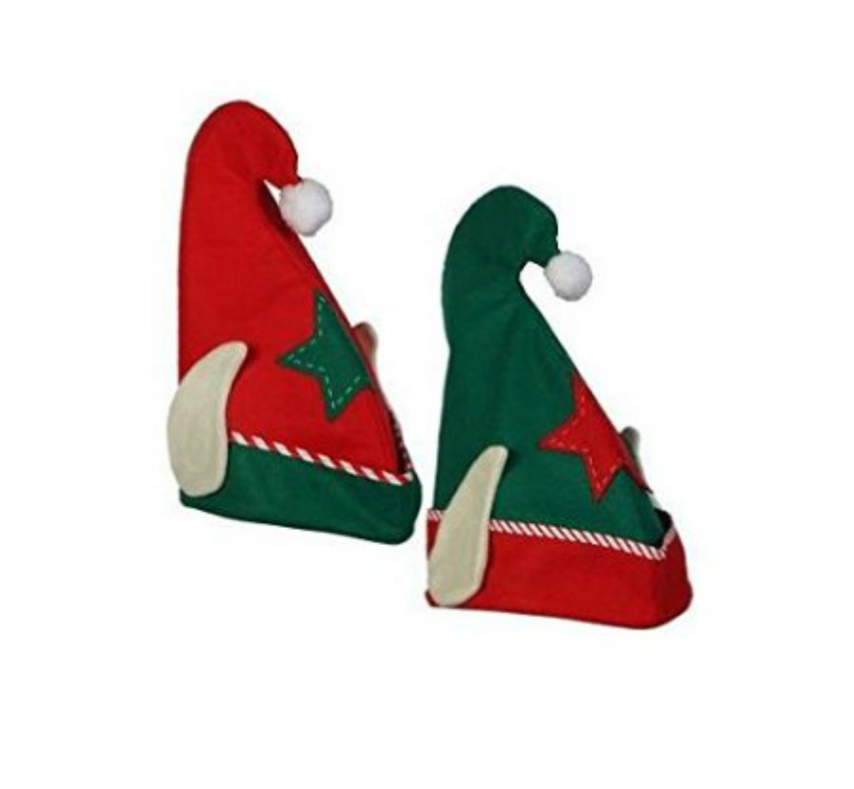 amazon com elf hat with ears christmas elf hat red or green toys
