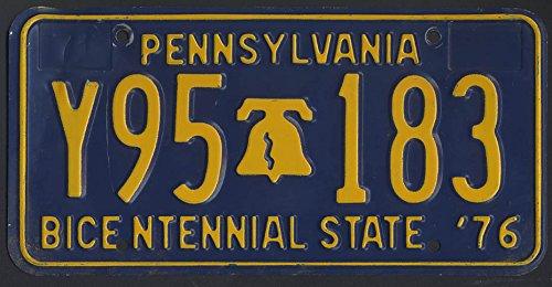 Pennsylvania license plate Bicentennial State 1976 Y95 183 (1976 Bicentennial Plate)
