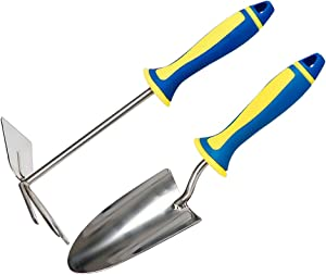 Steve & Leif Garden Tool Set,2 Piece Stainless Steel Heavy Duty Gardening Kit,Plant Hand Trowel,Dual Purpose Hoe,Perfect Garden Gifts Set for Gardening Lover