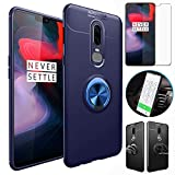 OnePlus 6T Case with HD Screen Protector,I VIKKLY Slim Flexible and Durable Soft [TPU] 360 Degree Rotating Ring Kickstand Shockproof Case Fit Magnetic Car Mount for OnePlus 6T 6.4'' (2018) (Navy Blue)