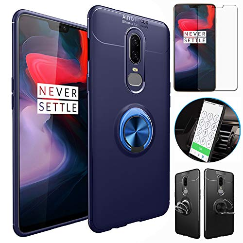 OnePlus 6T Case with HD Screen Protector,I VIKKLY Slim Flexible and Durable Soft [TPU] 360 Degree Rotating Ring Kickstand Shockproof Case Fit Magnetic Car Mount for OnePlus 6T 6.4'' (2018) (Navy Blue) by I VIKKLY (Image #9)