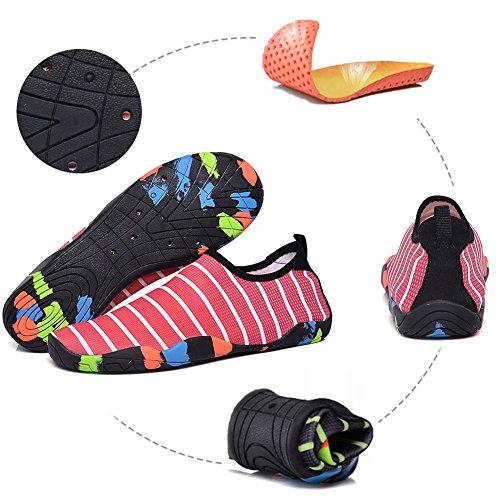 Aquatique Rayé Chaussure Plage Surf Plongée Piscine Gym Course Rose pour Séchage Chaussure GESIMEI Hommes Yoga Eau Rapide Femmes Sport Nager UqWP6t6wEZ
