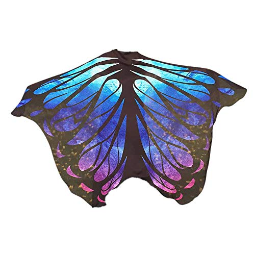WOCACHI Halloween Costume Fabric Butterfly Wings Scarves, Women Cloak Cape Poncho Party Show Festival Ladies Dress Up Accessory Blue -