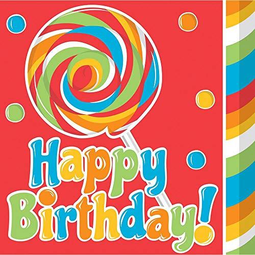 16-Count Paper Lunch Napkins, Sugar Buzz Happy Birthday -