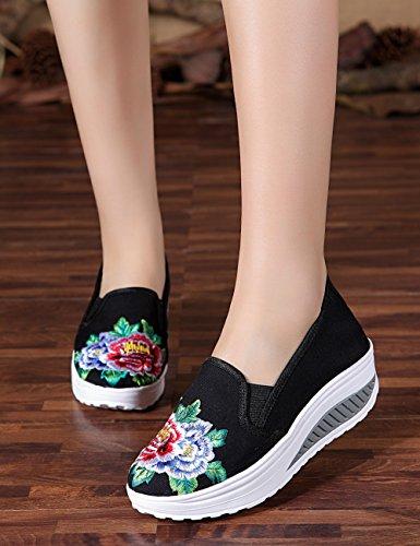 Fanwer Estudiantes Slip Up Canvas Chino Bordado Mujeres Cuña Plataforma De Goma Zapatos Planos Negro