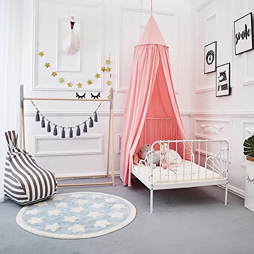 Canvas Bed Bedroom - ONMIER Mosquito Net Canopy, Cotton Canvas Dome Princess Bed Canopy Kids Play Tent Mosquito Net Children's Room Decorate for Baby Kids Indoor Outdoor Playing Reading (Pink)