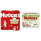 BUNDLE HUGGIES Little Snugglers Diapers, Size 1, 198 Count (Packaging May Vary) & HUGGIES Natural Care Unscented Baby Wipes, Sensitive, 6 Disposable Flip-top Packs (288 Total Wipes)