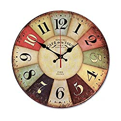 sea-junop French Country Tuscan Retro Style Arabic Numerals Design Wood Wall Clock