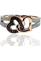 Red Diamond Hearts Rose Gold Ring 0.15ct Real Diamonds Double Heart Split Shoulder Gift Fashion