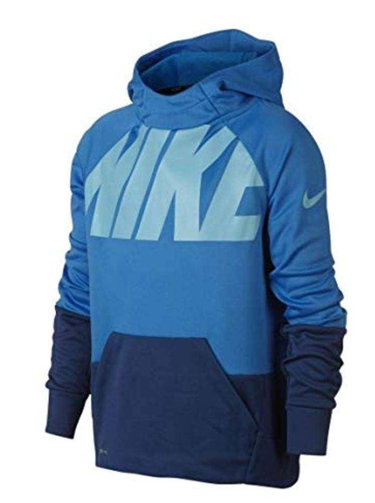 Nike Youth Boys Therma Training Hoodie Athletic Pullover (Large) Sky Blue/Blue