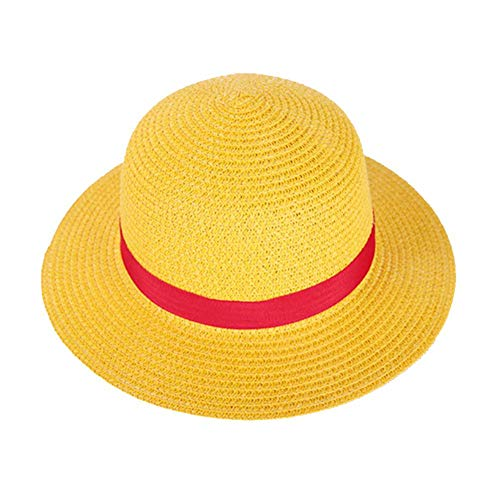 One Piece Luffy Anime Cosplay Straw Boater Beach Hat Cap Halloween Straw Hat]()