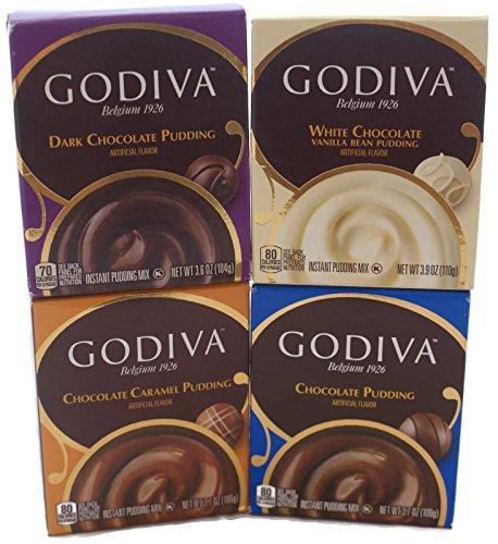 (Variety Pack - Godiva Pudding Mix (3.9oz) - Chocolate, Dark Chocolate, Chocolate Caramel, White Chocolate )