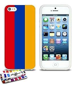 Carcasa Flexible Ultra-Slim APPLE IPHONE 5 de exclusivo motivo [Armenia Bandera] [Blanca] de MUZZANO  + ESTILETE y PAÑO MUZZANO REGALADOS - La Protección Antigolpes ULTIMA, ELEGANTE Y DURADERA para su APPLE IPHONE 5