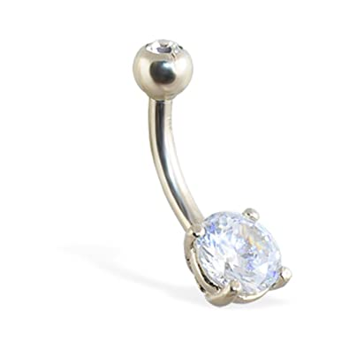 Amazon Com Mspiercing 14k White Gold Belly Button Ring With Round