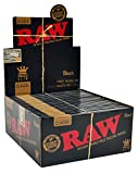 RAW Black Classic Natural Unrefined Rolling Papers - Ultra Thin - 110mm King Size Slim - (24)