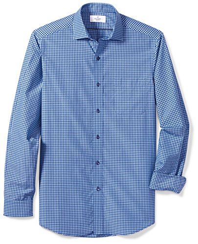 BUTTONED DOWN Men's Classic Fit Supima Cotton Spread-Collar Dress Casual Shirt, Teal/Navy Small Gingham, L 34/35 (Gingham Navy Dress)