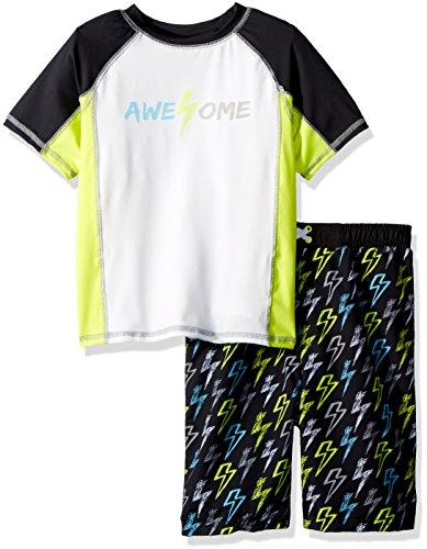 Baby Buns Little Boys' Two Piece Awesome Rashguard Swimsuit Set, Multi, 5