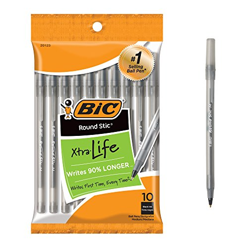 BIC Round Stic Xtra Life Ballpoint Pen, Medium Point , Black