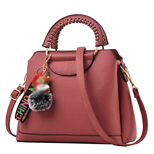 LINNUO Mujer Bolsos PU Cuero Bolso de Mano Color Sólido Bolsa De Hombro Shopping Bolsa de Mensajero Casual Pink Oscuro