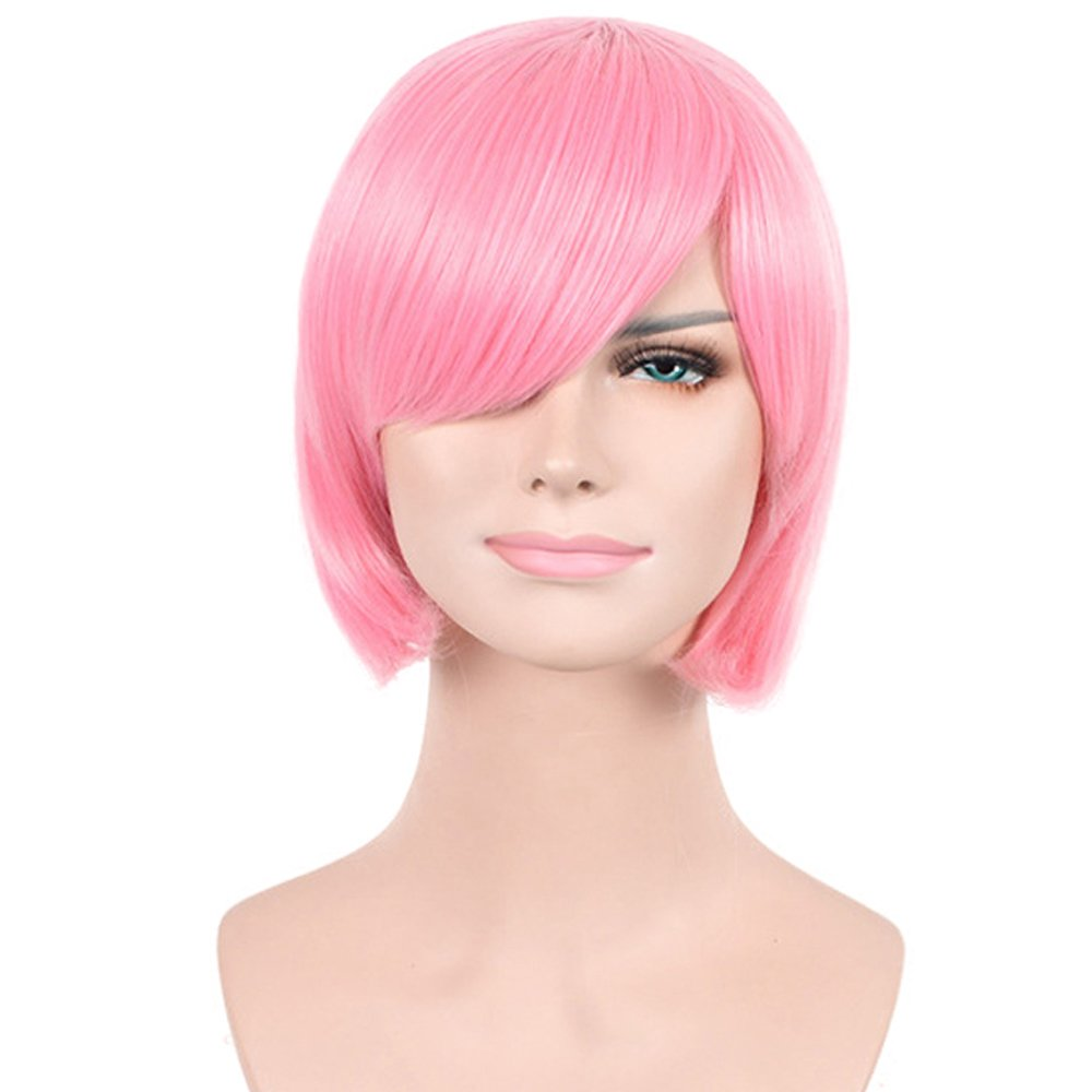 Amazon.com   Deniya Women Short Bob Stylish Straigt Wig with Bangs Pink Hair  Wig + Free Wig Cap   Beauty 24f5dc55b