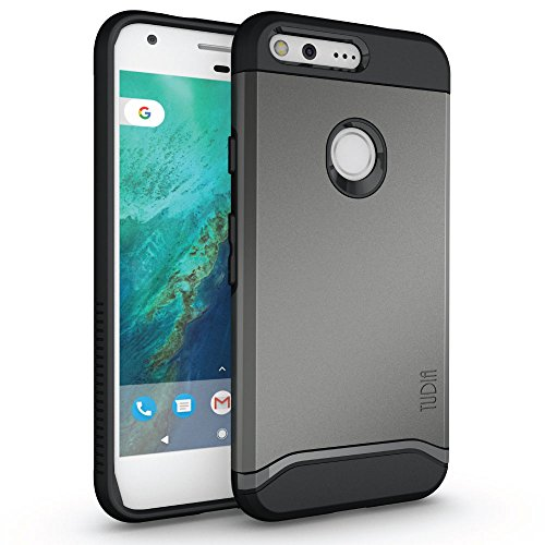 Google Pixel Case, TUDIA [Merge Series] Dual Layer Slim Design Reinforced Military Standard EXTREME Protection / Rugged Precise Cutouts Shock Absorption Case Cover for Google Pixel (Metallic Slate)