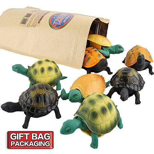 Turtle Toys,Sea Ocean Animal 5 Inch Rubber Tortoise Turtle Sets(8 Pack),Great Safety Material TPR Super Stretchy,Can Hide In Shell ValeforToy Bathtub Bath Pool Toy Party Favors Boys Kids by ValeforToy (Image #5)