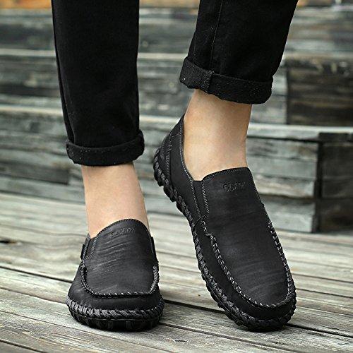 Abby 9522 Heren Slip-on Schoenen Rijden Casual Klassieke Baan Smart Lederen Slip Op Sneakers Zwart