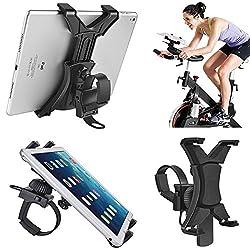"Tablet Holder For Spinning Bike,universal Ipad Mount For Indoor Gym Equipment Treadmill Exercise Bike,adjustable 360° Swivel Bracket Stand For 7-12"" Tablets & Ipads"