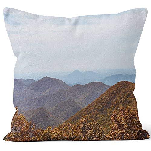 Nine City Autumn Landscape Blue Ridge Mountains Throw Pillow Cushion Cover,HD Printing Decorative Square Accent Pillow Case,40