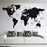DAHLIAT | Wall Stickers | Large World Map Vinyl Wall Decal Home Decor Living Room Removable Abstract World Map Wall Sticker for Bedroom B508