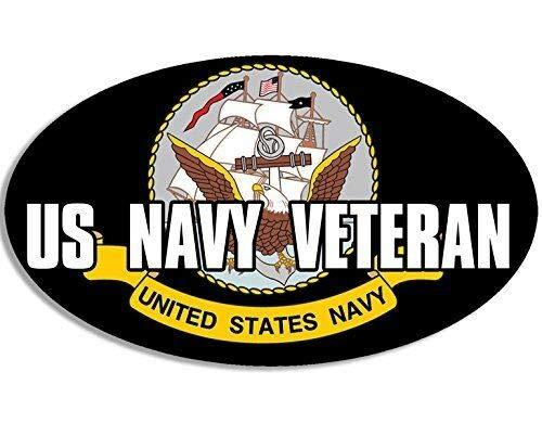 MAGNET 3x5 inch OVAL US NAVY VETERAN Sticker -logo decal vet military naval served ship Magnetic vinyl bumper sticker sticks to any metal fridge, car, signs